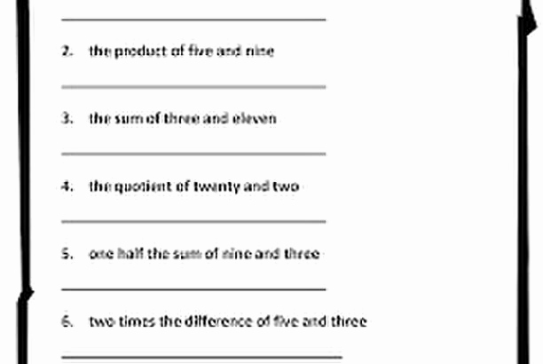 Writing Numerical Expressions Worksheets Elegant Numerical Expressions Worksheet Classroom Freebies too