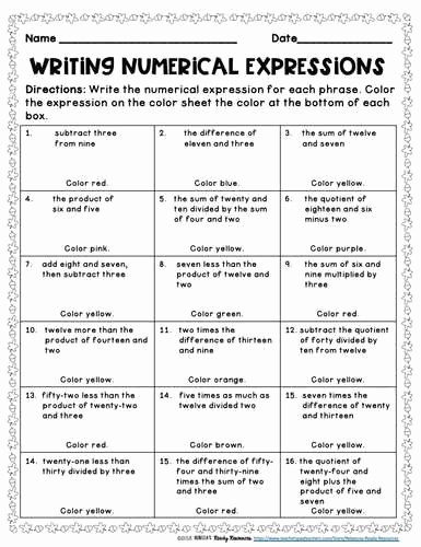 Writing Numerical Expressions Worksheets Lovely Writing Numerical Expressions Worksheet Numerical