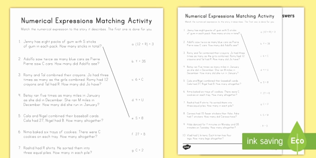 Writing Numerical Expressions Worksheets Unique Numerical Expression Worksheets 5th Grade Numerical