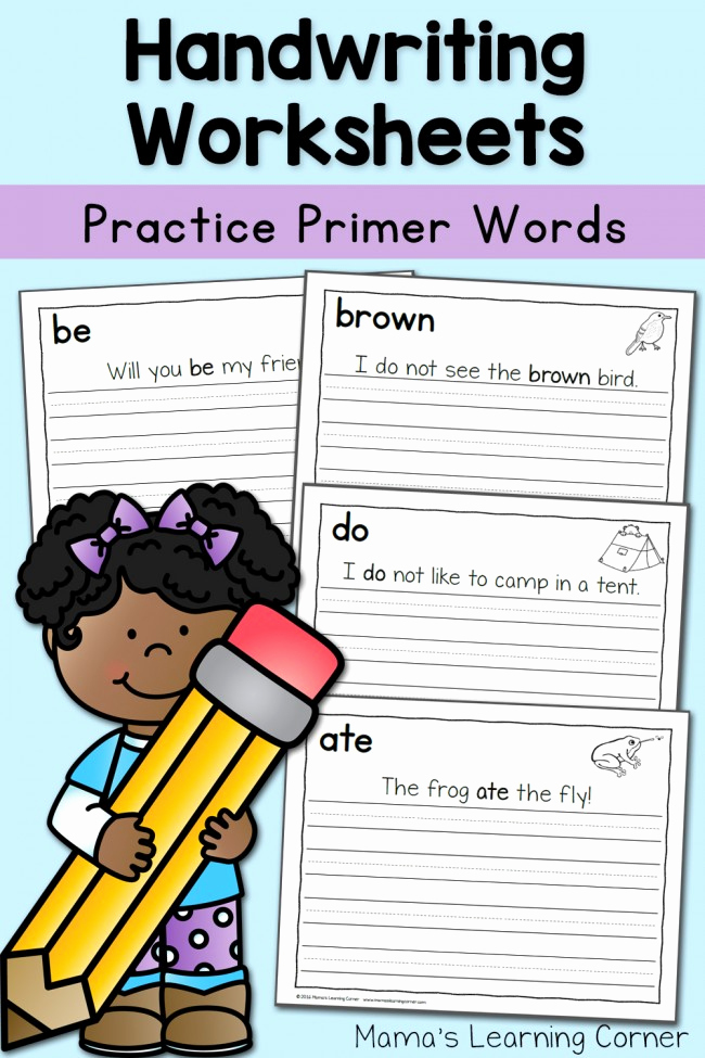Writing Sentences Worksheets Beautiful Handwriting Worksheets for Kids Dolch Primer Words