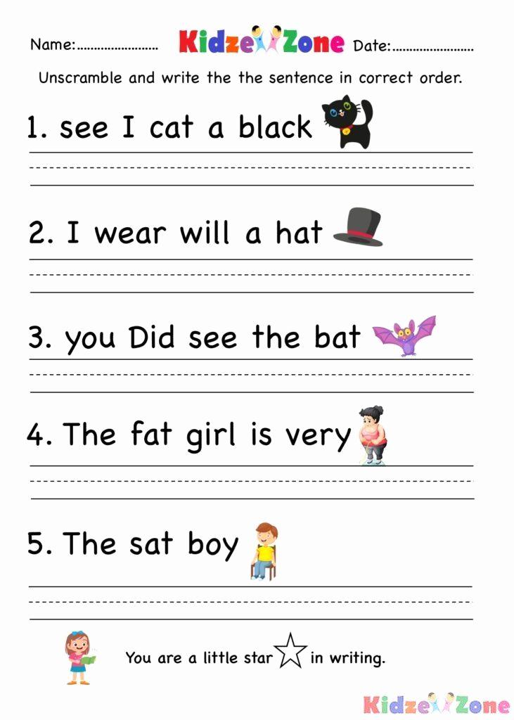 Writing Sentences Worksheets Beautiful Kindergarten Writing Sentences Worksheets Kindergarten