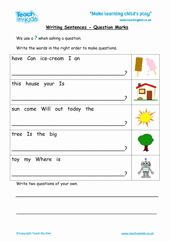 Writing Sentences Worksheets Best Of Writing Sentences Question Marks Tmk Education