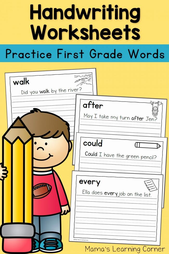 Writing Sentences Worksheets Elegant Handwriting Worksheets for Kids Dolch First Grade Words