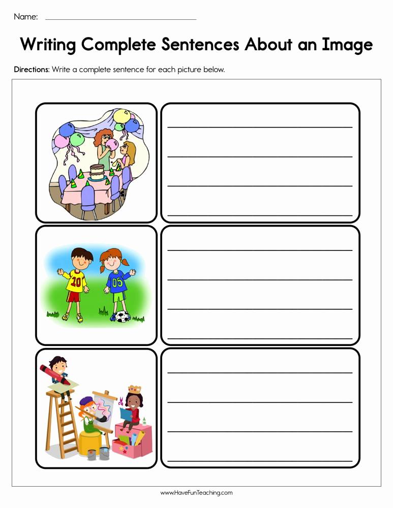 Writing Sentences Worksheets Elegant Writing Plete Sentences About An Image Worksheet