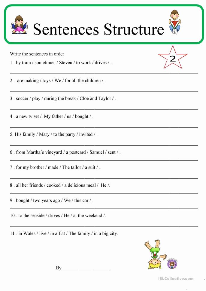 Writing Sentences Worksheets Lovely Sentence Structure 2 Worksheet Free Esl Printable