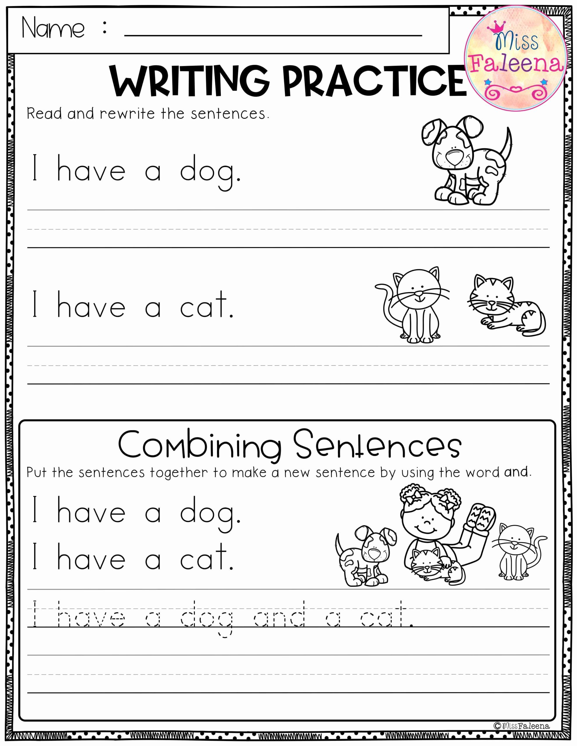 Writing Sentences Worksheets Unique Kindergarten Tracing Sentences Worksheets