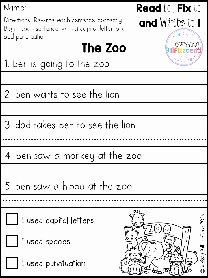 Writing Worksheet 1st Grade New First Grade Writing Activities Worksheets for Kids