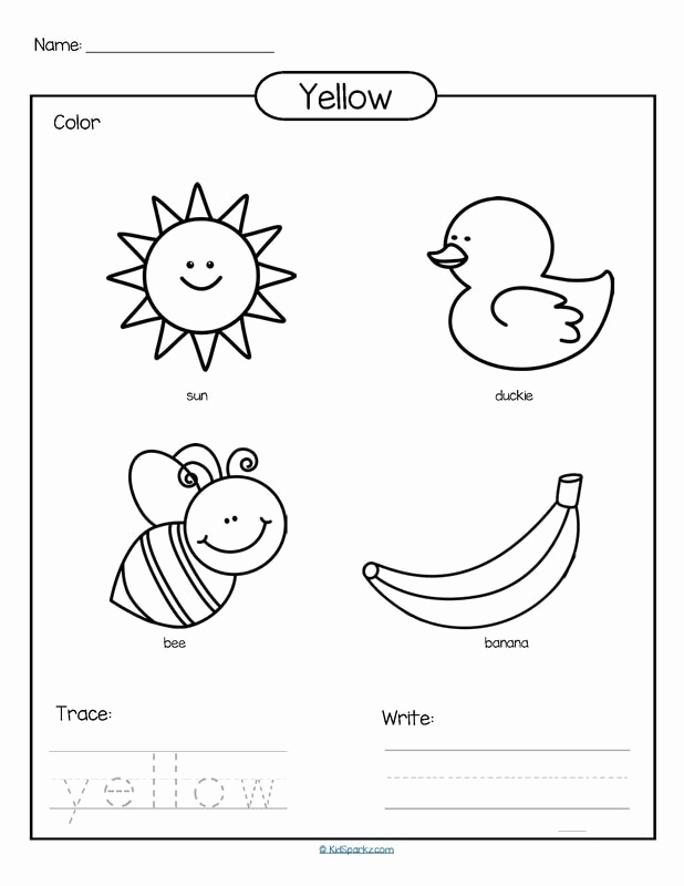 Yellow Worksheets for Preschool Elegant Color Yellow Printable Color Trace and Write