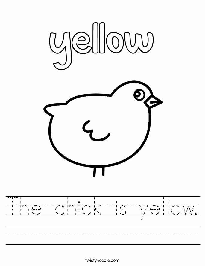 Yellow Worksheets for Preschool Elegant the Chick is Yellow Worksheet Twisty Noodle