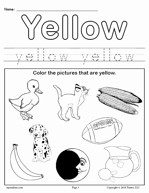 Yellow Worksheets for Preschool Fresh Free Color Yellow Worksheet – Supplyme
