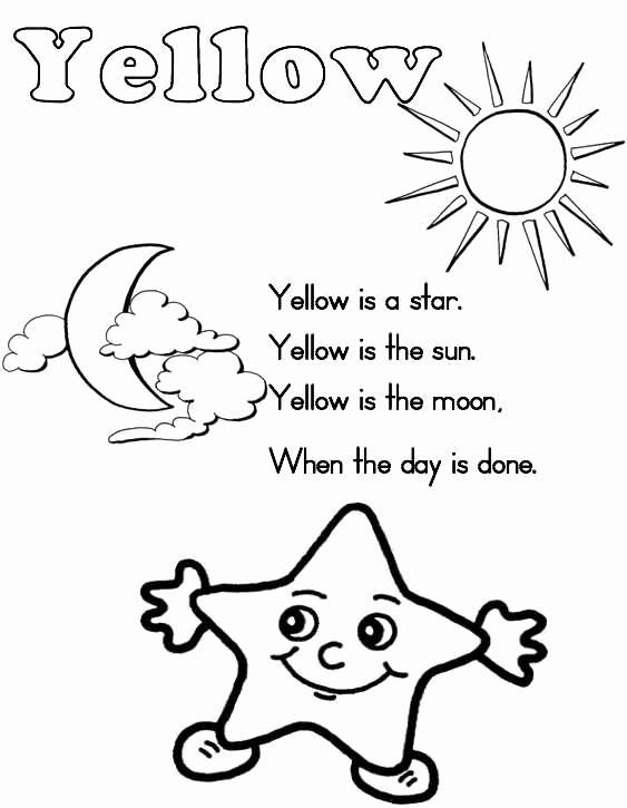 Yellow Worksheets for Preschool Luxury 10 Best Of Color Words Worksheets for Kindergarten