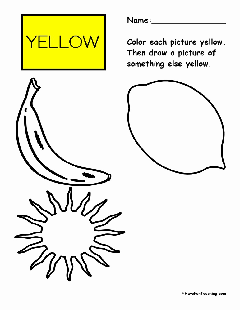 Yellow Worksheets for Preschool Luxury Color Worksheets Have Fun Teaching