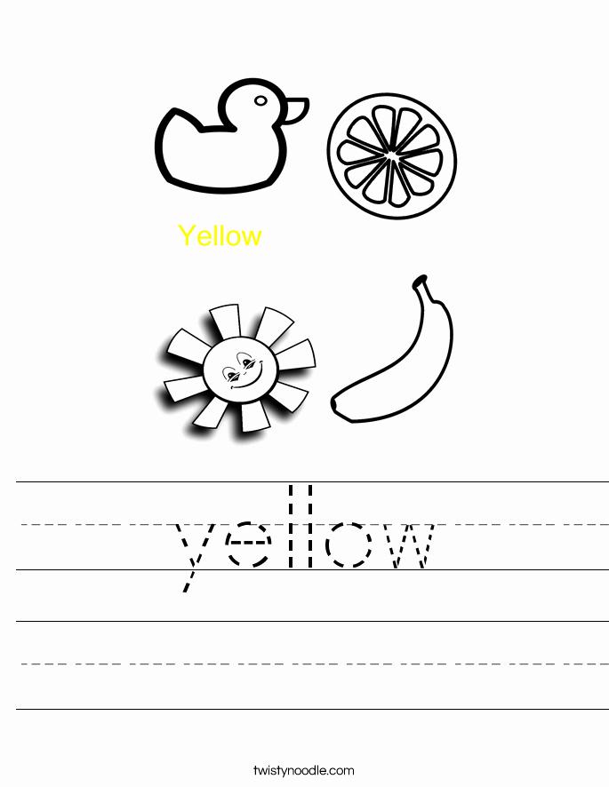 Yellow Worksheets for Preschool Unique Yellow Worksheet Twisty Noodle